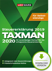 Verpackung von TAXMAN 2020 für Selbstständige (für Steuerjahr 2019) [PC-Software]