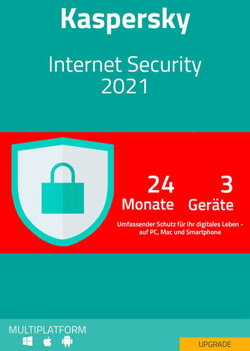 Verpackung von Kaspersky Internet Security 2021 Upgrade (3 Geräte / 24 Monate) [MULTIPLATFORM]