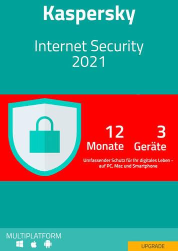 Verpackung von Kaspersky Internet Security 2021 Upgrade (3 Geräte / 12 Monate) [MULTIPLATFORM]
