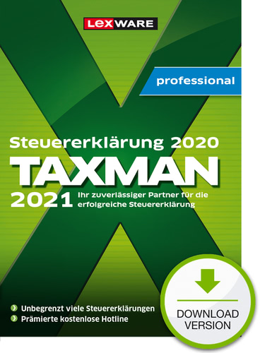 Verpackung von TAXMAN professional 2021 für (Steuerjahr 2020) 7-Platz-Lizenz [PC-Software]