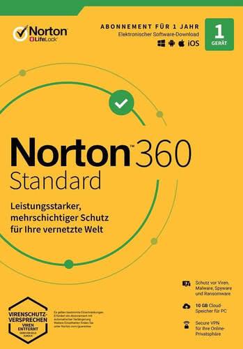 Verpackung von NortonLifeLock Norton 360 Standard (1 Gerät / 1 Jahr) [MULTIPLATFORM]