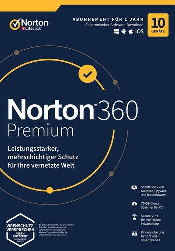 Verpackung von NortonLifeLock Norton 360 Premium (10 Geräte / 1 Jahr) [MULTIPLATFORM]