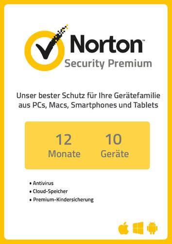 Verpackung von NortonLifeLock Norton Security Premium 3.0 (10 Geräte / 1 Jahr) [MULTIPLATFORM]