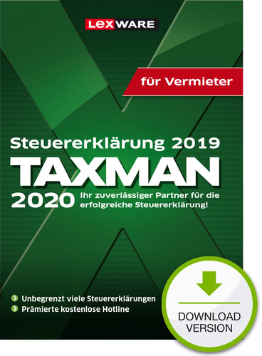 Verpackung von TAXMAN 2020 für Vermieter (für Steuerjahr 2019) [PC-Software]