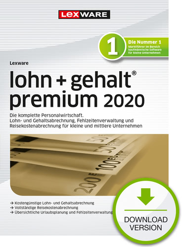 Lexware lohn + gehalt 2020 premium – Jahresversion (365-Tage) (Download), PC