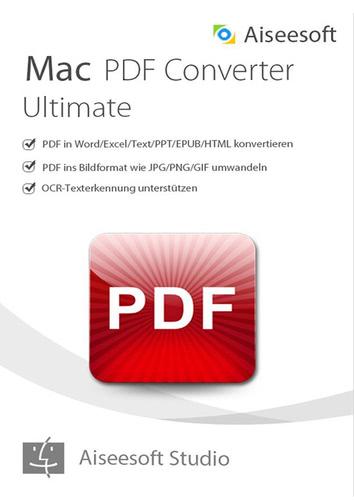 Verpackung von Aiseesoft PDF Converter Ultimate für Mac (Version 2017) - lebenslange Lizenz [Mac-Software]